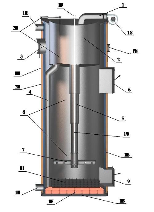 Конструкція твердопаливного котла тривалого горіння SWaG